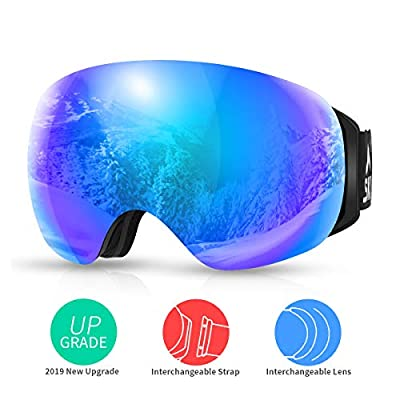 SKL Ski Goggles Over Glasses Snowboard Goggles for Men Women Youth, Frameless UV400 Protection Anti Fog OTG Snow Goggles with Interchangeable Lens and Straps