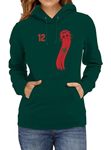 Shirt Happenz Marokko Weltmeisterschaft 2018#33 Premium Hoodie Fan Trikot Fußball WM Nationalmannschaft Frauen Kapuzenpullover, Farbe:Dunkelgrün;Größe:L