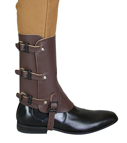 Historical Emporium Men's Deluxe Leather Military Gaiters Brown