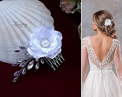 HWD Elsa Peigne Cheveux Fleur Bijou Chignon Mariage Coiffure Mariée Coiffe de Tête Cérémonie Satin Strass