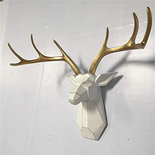 DAGCOT Wall Hanging Sculpture Deer Head Wall Mount White and Gold Geometrical Antler Sculpture Faux Resin Animal Head Wall Decor Ready to Hang Home Bar Background Wall Decorations
