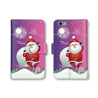 【ノーブランド品】 iphone6s スマホケース 手帳型 サンタ イラスト クリスマス パープル 紫色 かわいい おしゃれ 携帯カバー アイフォン6s ケース