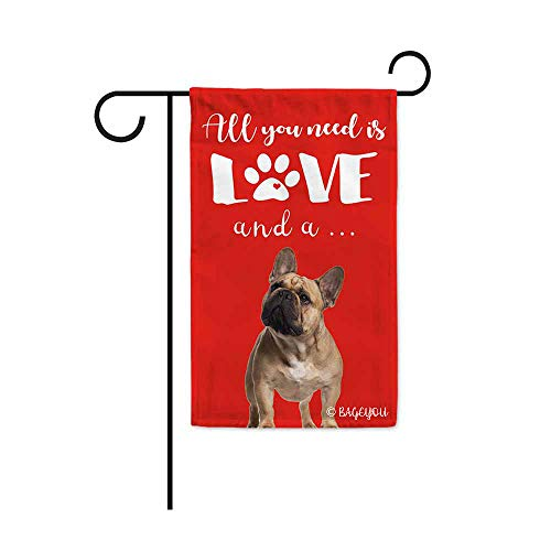 BAGEYOU All You Need is Love and a Dog Frenchie Decorative Garden Flag for Outside Cute Puppy Paws Red Background 12.5X18 Inch Printed Double Sided