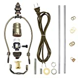 Canomo Antique Brass Finish Make-A-Lamp Kit 3-Way with 8 Inch Harp, 2 Pieces 12' Lamp Pipe, and All Parts Needed and Instructions for DIY Lamp Design or Repair…