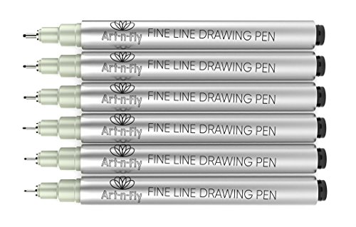 Rotuladores Punta Fina Negro para Dibujar Archival Ink – Set 6 Bolígrafos Punta Fina para Bocetos Manga y Escritura