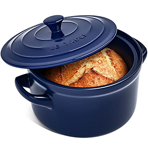 LE TAUCI 3 Quart Dutch Oven Pot with Lid, for No Knead Bread, Sourdough Loaves, Bread Clothe Baker, Ceramic Casserole Dish, Stove to Oven, Non-Coated, Use as Bread Pan, Soup Pot, Stew Pot, Blue