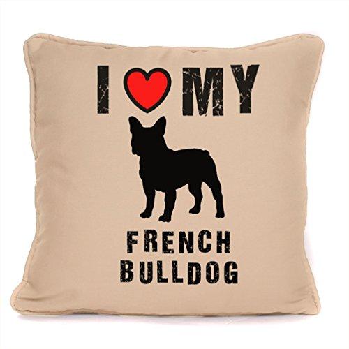 fourleafcloverprint Personalizado Bulldog Francés Perro cojín Me Encanta mi Bulldog Francés de cojín Home Décor Cojín de Perro, Crema, 45cm x 45cm