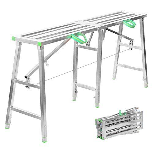 KELUNIS Multipropósito Escalera De Plataforma De Trabajo, Aluminio Plegable Step Up Bench Ladder con Bloqueo Seguro Remolque De Autocaravanas