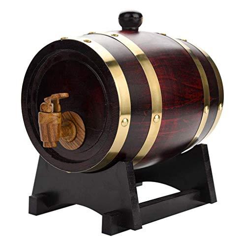 DAXINYANG 1,5 / 3L Barril De Madera, Herramientas De La Vendimia del Roble La Elaboración De Cerveza, Grifo Dispensador para Ron Pot Whisky Vino Mini-Bar Barril Home Brew Barril De Cerveza,3L