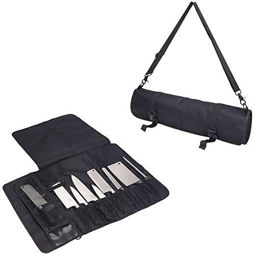 HNYG Chef Knife Roll Bag con 17 ranuras, bolsa de cuchillas compacta y portátil Estuche de almacenamiento con correa para el hombro, bolsa de herramientas resistente al agua y lavable HYDD14-UK