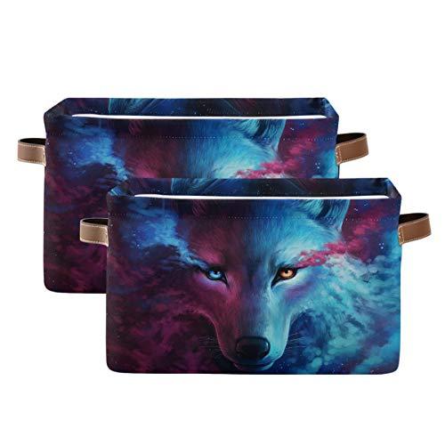 Tropicallife Cesta de almacenamiento F17 Cool Wolf Animal Pattern Caja de almacenamiento con asa, 2 unidades, plegable de tela de lona para guardería, hogar, oficina, mesa de lavandería