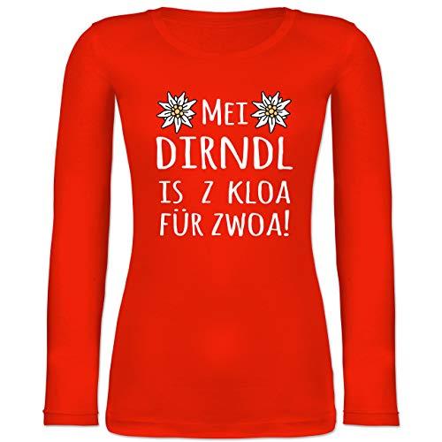 Shirtracer Oktoberfest & Wiesn Damen - MEI Dirndl is z kloa für zwoa! weiß - L - Feuerrot - Dirndl Schwangerschaft - BCTW071 - Langarmshirt Damen