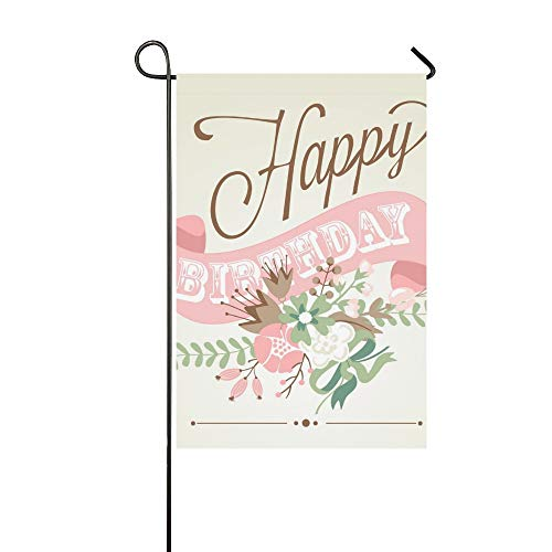 JOCHUAN Wohnkultur Geburtstagskarte Tafel Kalligraphie Stil Niedlichen Garten Flaghouse Yard Flaggarden Yard Decorationsseasonal Willkommen Outdoor Flagge 12X18 Zoll