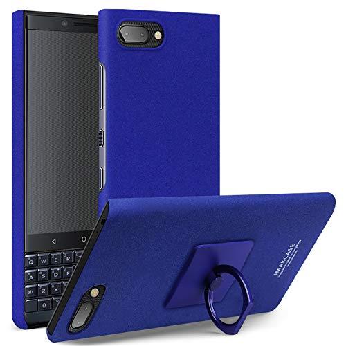 TKTK Hoesjes voor mobiele telefoons Matte Touch Cowboy PC Case for BlackBerry KEY 2 LE, met Holder & Screen Sticker (Zwart) (Color : Blue)