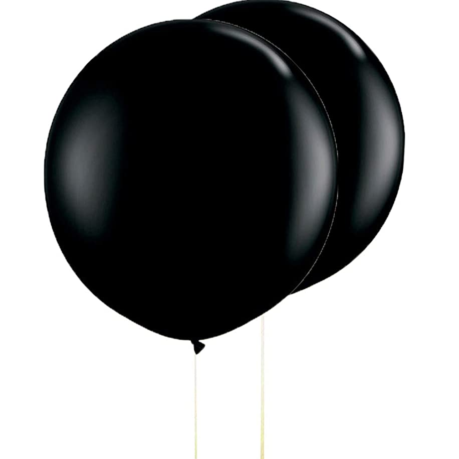 AZOWA 6 Pack 36 In Big Black Round Latex Balloons Large Party Balloons for Gender Reveal Party Wedding Anniversary Celebrate Decorations
