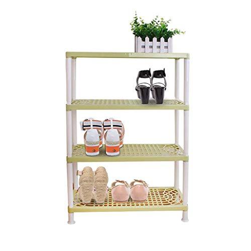 HYY-YY Zapatero de almacenamiento para pasillo de 4 niveles de plástico, estante organizador ligero, montaje a prueba de polvo (verde)