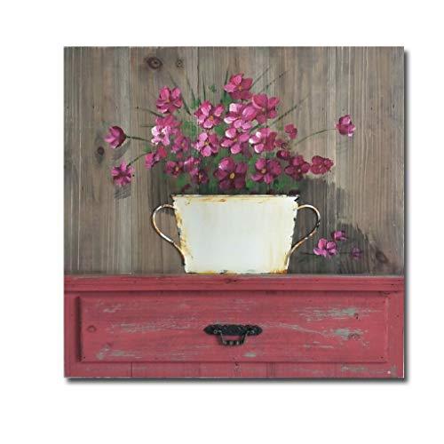 Slate & Rose Wandklok, Metaal, Rood, 60cm x 60cm x 4cm
