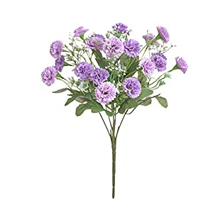 SSXY Artificial Flowers,Fake Hydrangea Bouquet Decor Plastic Carnations Realistic Flower Home Office Party Decor Arrangements Wedding Mother Day's Decoration Table Centerpieces(Exclude Vase)