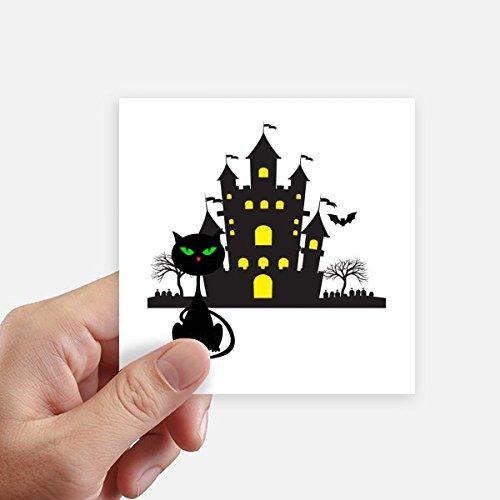 DIYthinker Adesivo quadrado para Halloween Horrível Castelo Sombrio Gato Adesivo à prova d'água Papel de parede Decalque de carro