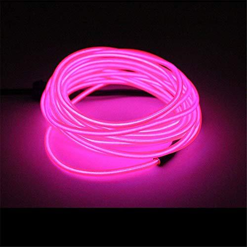 TJW EL Draht Licht mit Treiber, 5 m tragbares Neonlicht, 4 Modi, leuchtende Stroboskop-Lichter für Halloween, Weihnachten, Party rose