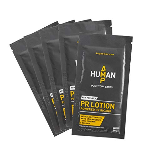 Amp Human PR Lotion, Performance & Recovery Bicarb Sports Lotion, 5 On-The-go Packets (20g Each)