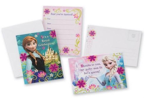 Disney Frozen Thank You Post Cards And Invitations Cards with Envelopes x 3 set (includes 24 Invitations and 24 thank you card) total of 48 cards
