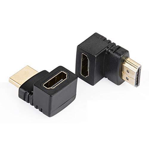J&D 90 Grados y 270 Grados HDMI Adaptador, Pack de 2 Chapados en OroÁngulo-Recto Macho a Hembra HDMI Adaptador 90 a 270 Grados