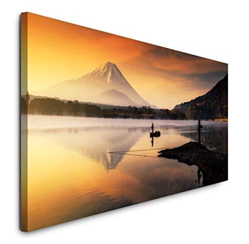 Paul Sinus Art GmbH Japan Berg 120x 50cm Panorama Leinwand Bild XXL Format Wandbilder Wohnzimmer Wohnung Deko Kunstdrucke