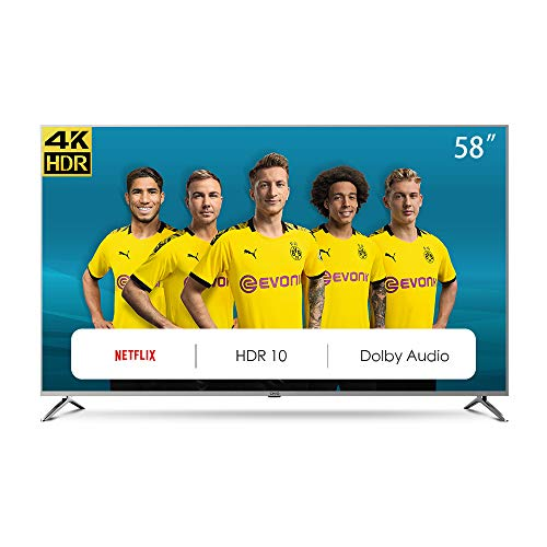 CHiQ U58G7N Smart TV 147 cm (58 Zoll), LED, UHD, 4K, HDR10, Wif i, Video,Netflix, YouTube 58 pouces UHD Amazon Prime Netflix Schwarz