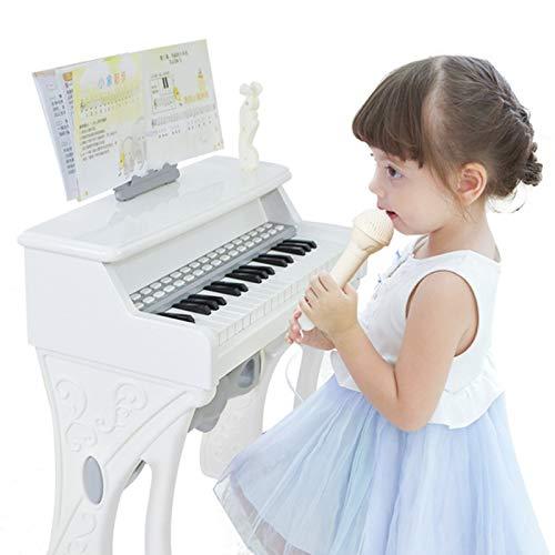 CanKun Teclado Piano, 37 Teclas Teclado Eléctrico con Micrófono Teclado para Bebés Instrumento Musical Portátil Piano para Niños Piano Piano para Niños A Partir 3 Años,Blanco