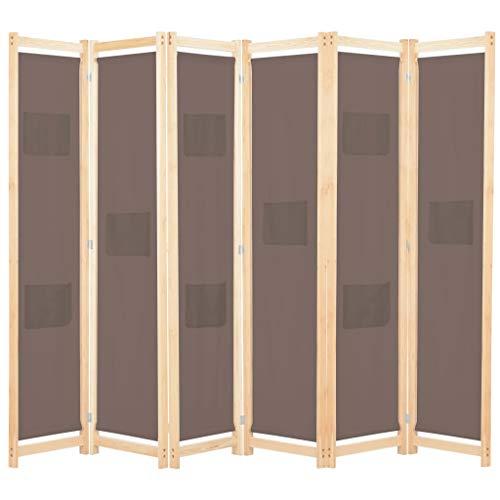 UnfadeMemory Biombo Divisor Plegable para Habitación con Bolsas en Paneles,Separador de Ambientes o Espacios,Decoración de Hogar,Estructura de Madera,Tela (6 Paneles,240x170x4cm, Marrón)