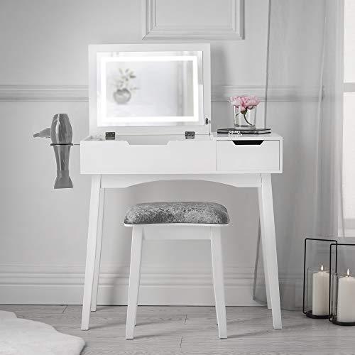 Carme Selena - Tavolino da toeletta con luce a LED a specchio, con cassetto, sgabello, mobiletto per camera da letto, trucco, gioielli, colore: bianco