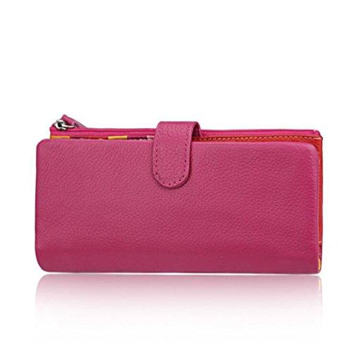 AprinCtempsD Cartera Piel Genuino Tarjetero de Crédito Monedero Grande Carteras de Mano Cremallera para Mujer (Rosa)