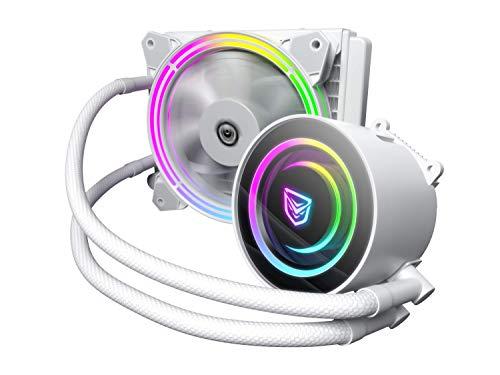 Nfortec Atria Refrigeración Líquida RGB 120 mm con Conector estándar 5v 3 Pin y ventilación con 7 aspas (Compatible con 10th generación de Intel) - Color Blanco