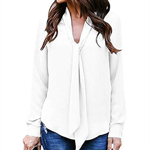 Yczx Women V Neck Chiffon Shirt Blouse Long Sleeves Tunic Tops Elegant Solid Color Blouses Tops with Tie Classic Design Business or Casual Shirt Loose Comfortable Lightweight T-Shirt 2XL