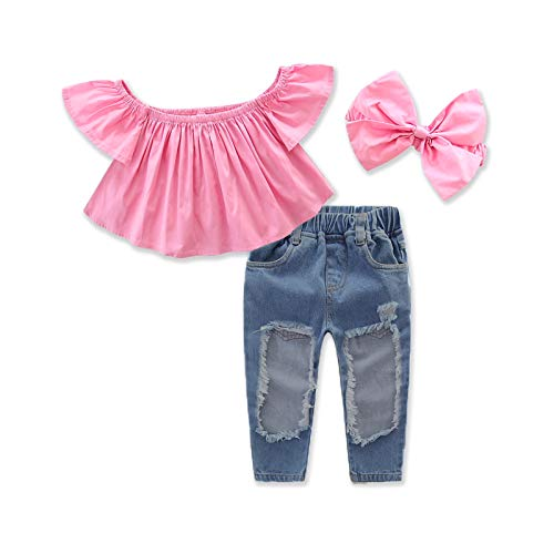 1-7Yrs Kid Baby Girls Ruffle Tops + Big Hole Jeans Cool Girl Clothes 2pcs/set (4-5T)