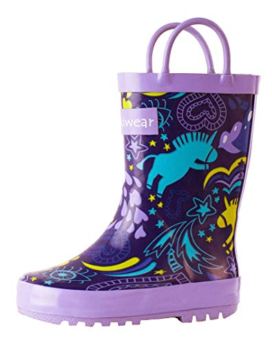 Top girl rain boots size 1 unicorn for 2020