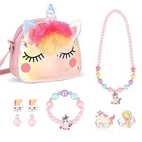 Hifot Einhorn Handtasche Schmuckset für Mädchen, Einhorn Halskette Armband Ring Ohrring Kinderschmuck Set, Prinzessin Ankleiden Geburtstag Geschenk