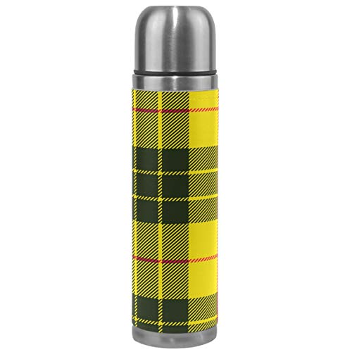 Wamika Plaid Thermos Vacuum Insulated Bottle,Yellow Black Scottish Plaid Tartan Stainless Steel Water Bottle,Checkered BPA Free Coffee Travel Mug Cup Genuine Leather Cover 17 Oz Best Christmas Gifts