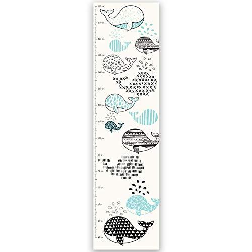 Paper Themes - Tabella di altezza per bambini per cameretta dei bambini, 1500 x 400 mm, stampata su carta vinilica resistente, motivo: balene blu