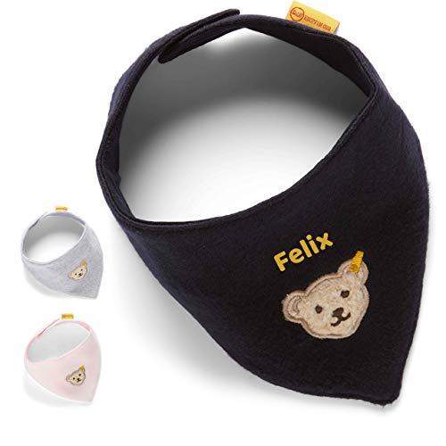 LALALO Steiff Baby Halstuch bestickt mit Namen, Dreieckstuch/Nickytuch personalisiert, Nickituch Teddy Bär, Fleece, Klettverschluss, L000020117 (Navy/Dunkel Blau)
