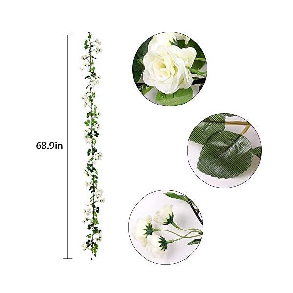 Veryhome 2Pcs 69 Heads 5.7FT Artificial Rose Vine Seda Falsa Flores Guirnalda Planta Floral Ivy Decoraciones para el…