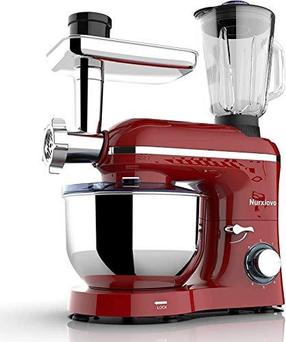 3 en 1 Mezclador de soporte, mezclador de alimentos de la cocina de inclinación de 1400W 6.1L, 6 velocidades con mezclador eléctrico de pulso, mezcladoras de pie multifunción, mezcladoras de carne y j