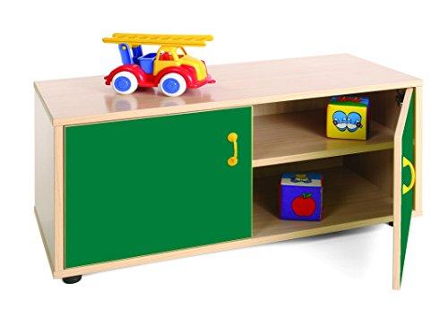 Mobeduc kindermeubel superlage kast met 2 planken, beuken, beuken en donkergroen, 90 x 40 x 44 cm