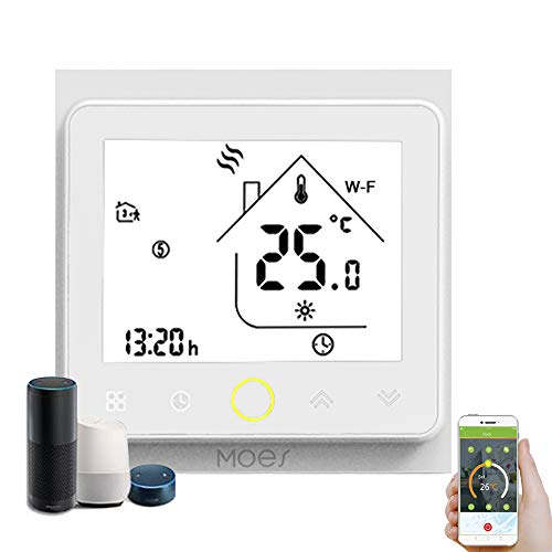 Decdeal Termostato WiFi per Caldaia a Gas/Acqua - Thermostat Intellight Programmabile, Supporto App/Controllo Vocale, Compatibile con Alexa/Google Home, 5A, GC