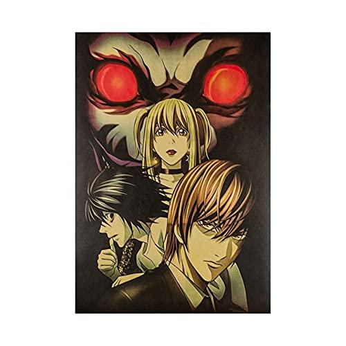 JSJJRFV Etiqueta de la Ventana Anime Carácter de Dibujos Animados Kraft Papel Impreso Cartel Retro Vida Creativa Bricolaje Pintura de la Pared de la Pintura de la decoración (Color : F)