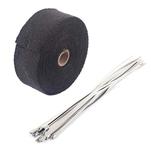 Auspuff Hitzeschutzband,Motorrad Hitzeschutz Auspuffband Schwarzer 10m mit10 Kabelbinder-Rohr Eine Rolle