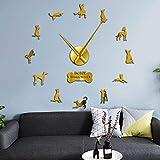 BBNNN Anubis Ibizan Hound Dog 3D DIY Reloj de Pared Podenco Ibicenco Raza de Perro Egipcio Reloj sin Marco Efecto de Espejo Diseño Animal 47 Pulgadas