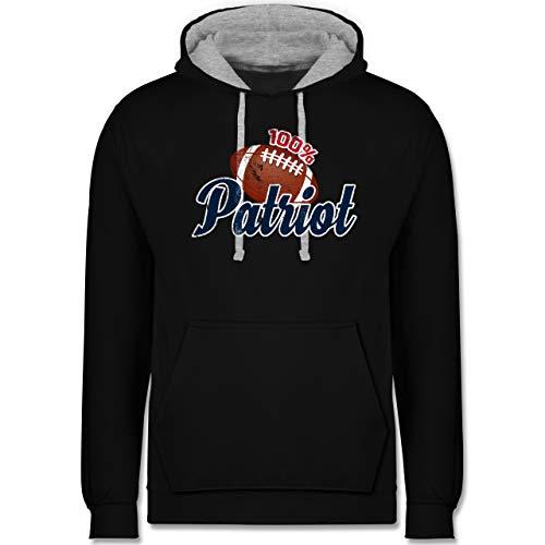 Shirtracer American Football Outfit Trikot - 100% Patriot - 3XL - Schwarz/Grau meliert - Football Trikot - JH003 - Hoodie zweifarbig und Kapuzenpullover für Herren und Damen