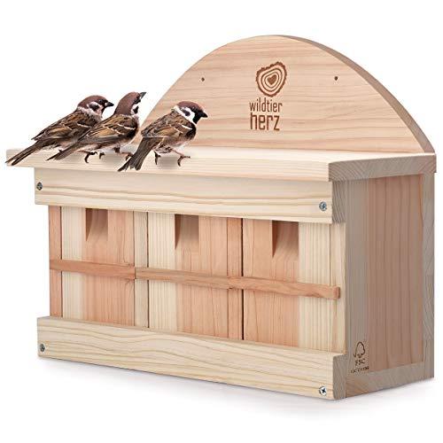wildtier herz | Spatzenhaus aus unbehandelten Massiv-Holz, wetterfeste Spatzenkolonie mit mehrere Nistkammern- artgerecht und langlebig